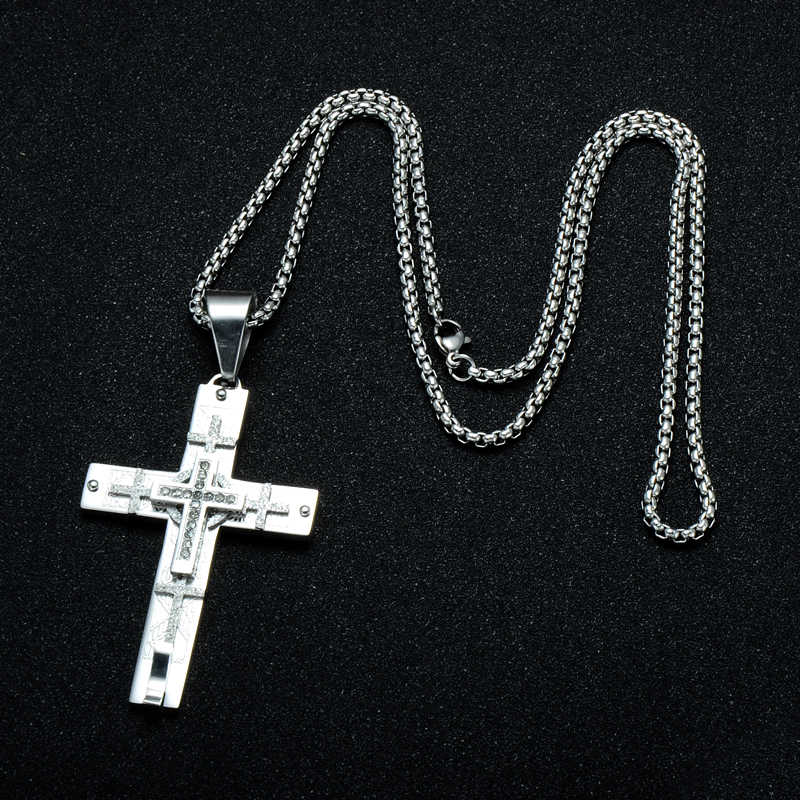 ... HIP Multiple Jerusalem Cross Necklace CZ Stone Pave Two Tone Stainless  Steel Cross Necklaces Pendants for a904e32b60ce