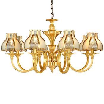 American Vintage pełne miedzi lampa żyrandol Avize do jadalni morza śródziemnego luksusowy żyrandol Led Lustre E14 szklany klosz