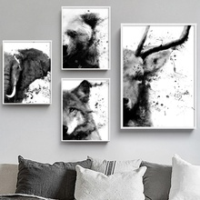 Gohipang Watercolor Deer Wolf Bear Elephant Nordic Posters And Prints Wall Art Canvas Painting Decor Pictures For Living Room