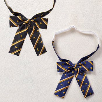 2 PCS / LOT New uniforms JK Japanese-style cravat Dark blue golden star moon stripes embroidery jacquard bow tie