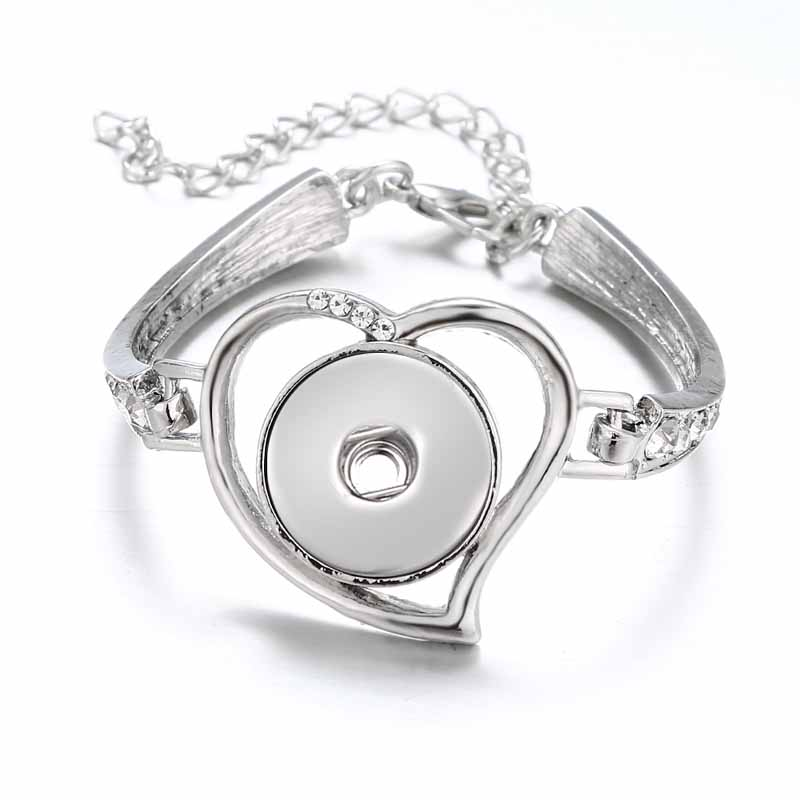 Crystal Hot wholesale 022 Heart Snap Button Bracelet Bangles Charms Metal Bracelets For Women Fit 18mm
