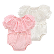 Newborn Girl Short Bodysuit Baby Girl Summer Clothing Ruffle Pan Collar Cotton 1piece Jumper Body Infant Girls Gift 3m 2018 New(China)