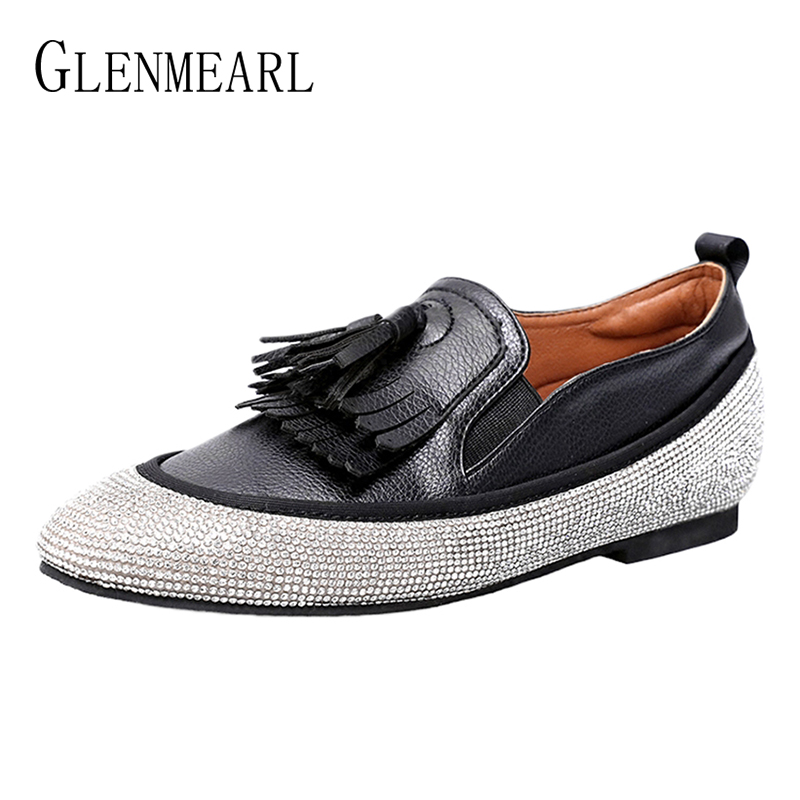 Genuine Leather Women Loafers Summer Shoes Height Increase Woman Flats Rhinestone Tassel Single Casual Shoes Plus Size Black DE keaiqianjin woman genuine leather shoes spring autumn black brown loafers shoes lazy plus size flats genuine leather loafers