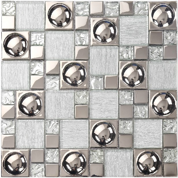 Silver glass tile backsplash kitchen ideas bathroom mirror tiles shower  wall decor mosaic sheet metal coating