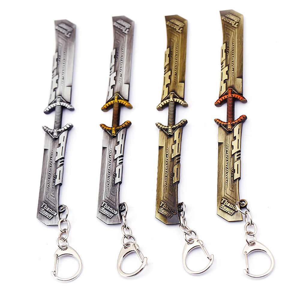 Avengers 4 Endgame Thanos Weapon Double-edged Sword Alloy Key Chains Keychain