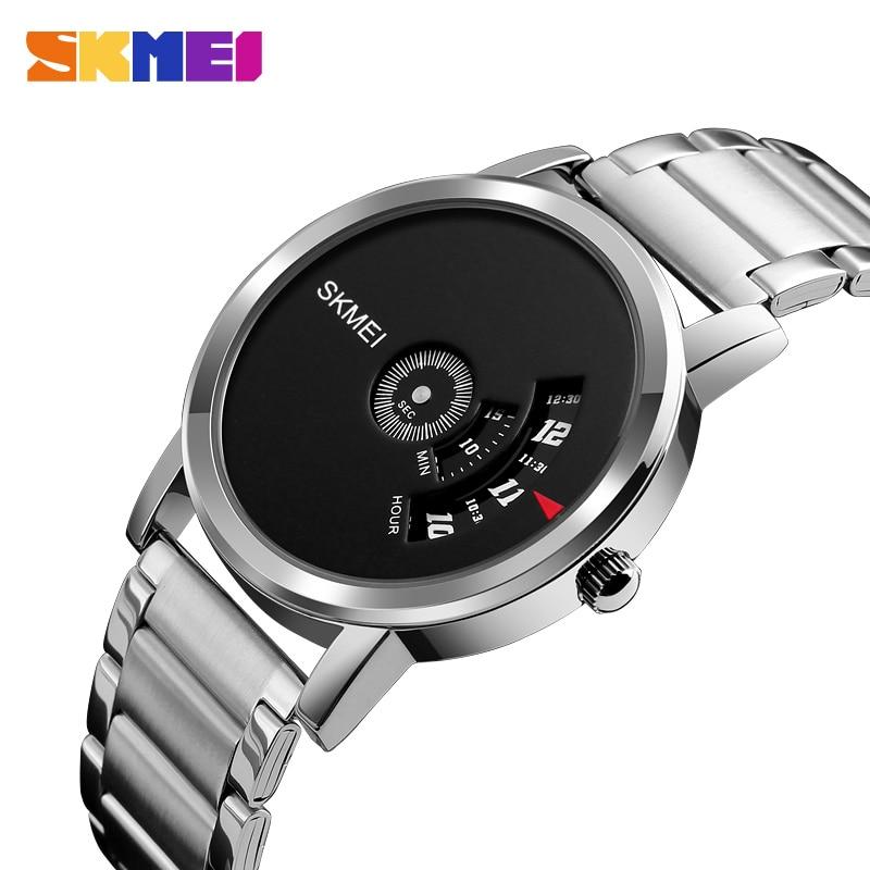 SKMEI Mannen Quartz Creatief Horloge Unisex Horloges Waterdicht Top Luxe Roestvrij Staal Band Klok Man Vrouw Horloges 1260
