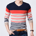 Free Shipping 2016 Autumn Long-sleeve Sweater Male Jacquard Stripe V-neck Sweater Fashion Modern Top
