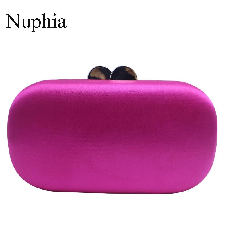 Caixa de Cetim de Seda Bolsas de Noite e Bolsas de Embreagem para Feminino Nuphia Nova Forma Oval Embraiagens Preto Marinho