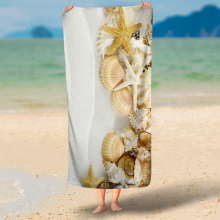 Nordic Nautical Starfish Shells 3D Print Beach Towel 75x150cm