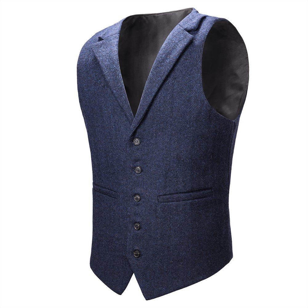 Voboom Wool Blend Tweed Herringbone Vest Coat Men Navy Blue Single-breasted Notched Lapel Waistcoat 018 Pure And Mild Flavor Men's Clothing