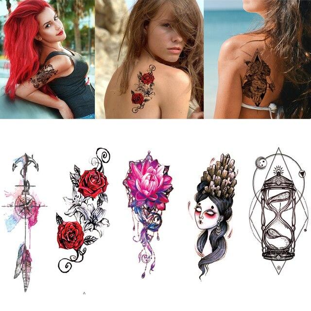 2Pcs Temporary Tattoo Stickers Transfer Sticker Waterproof Tattoo Stickers for Women Waist Bracelet Body Art Metallic Tattoos