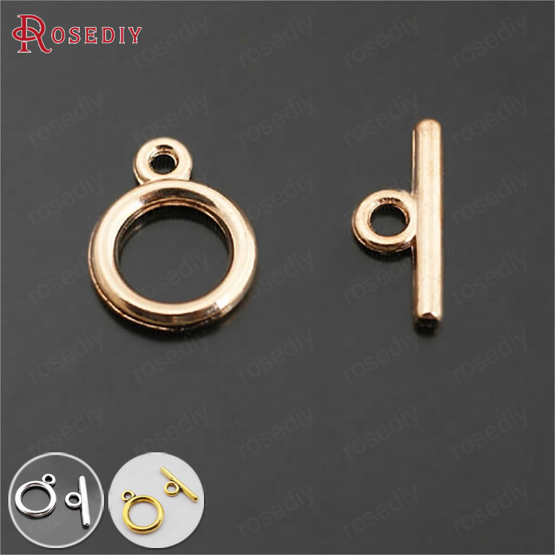 (27391)30 Sets O Shape 12MM Champagne Gold Color Zinc Alloy O Toggle Clasps Bracelets Clasps Diy Jewelry Findings Accessories