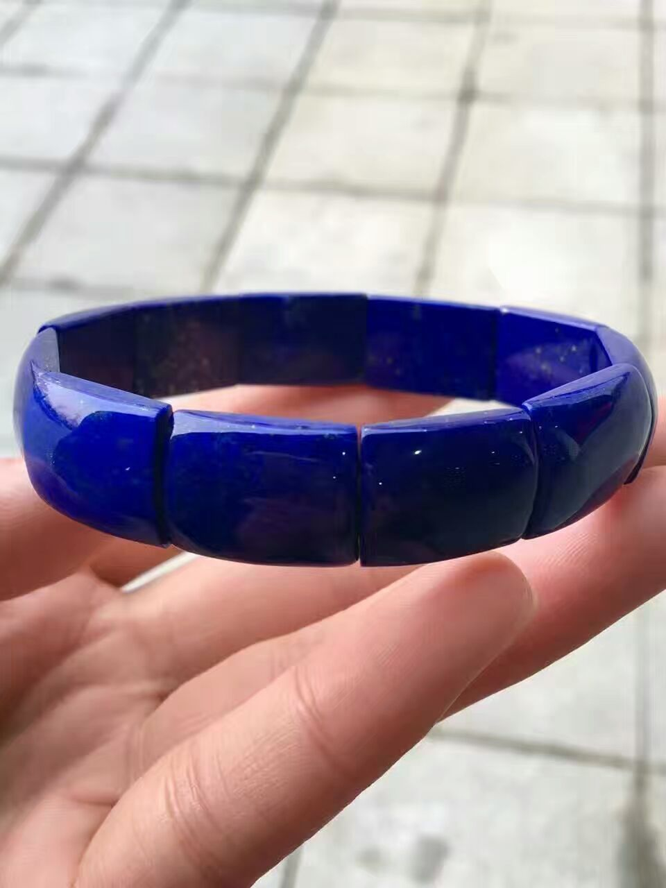 2018 Newly Genuine Natural Royal Blue Lapis Lazuli Gems Stone Pendant Rectangle Beads Women Man Bracelet Bangle AAAAA 20x13mm
