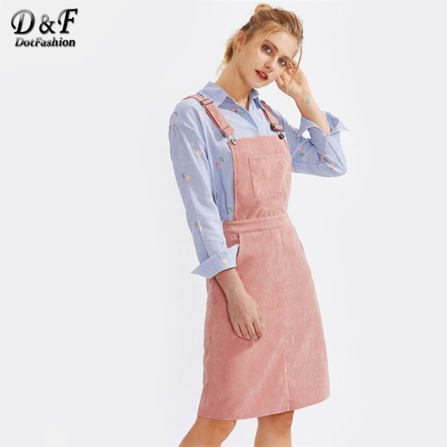Dotfashion Pocket Front Cord Overall Dress Pink Square Pinafore Sleeveless  Autumn Dress Women 2017 Knee Length A Line Dress 7db8b2bf1