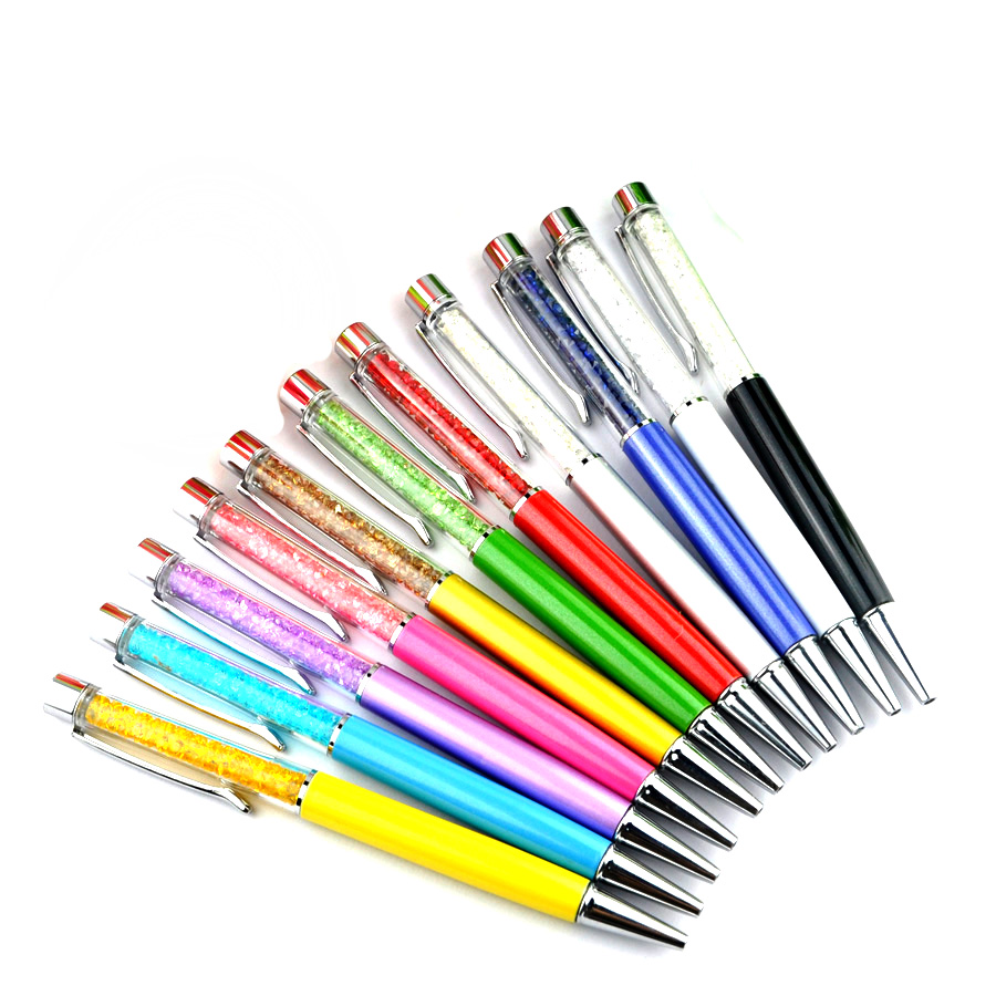 500 PCS/lot Crystal Metal ballpoint pen roller ballpen Pencil box and bag stationery office school brand gift can customize logo