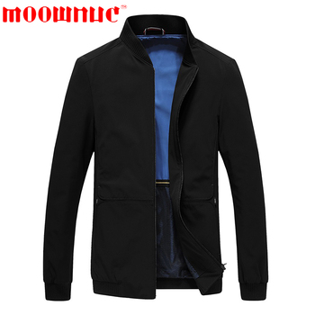 Leisure Jackets for Men Black Solid Color Business Casual Coat Classic Jackets Male Autumn Slim Fit Stand Collar Brand MOOWNUC