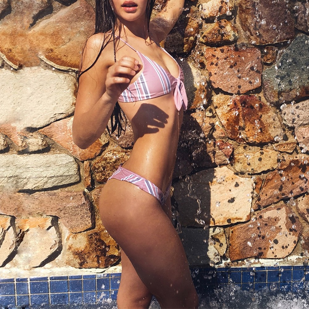HOT SALE NEW Sexy Women Push-up Padded Bra Bandage Bikini Set Hit Color Striped Bathing Suit Swiming #2DQ