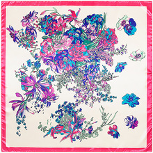Butterfly Flower Scarf Silk Feeling 90cm Scarves Match Apparel Accessory Woman Girl's Add Clothing Gift 90FJ43