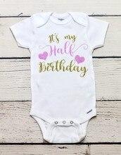 f6d1d7629 Personalizar medio cumpleaños niños camisetas cumpleaños bebé ducha  bodysuit onepiece mameluco traje nuevo año fiesta favores
