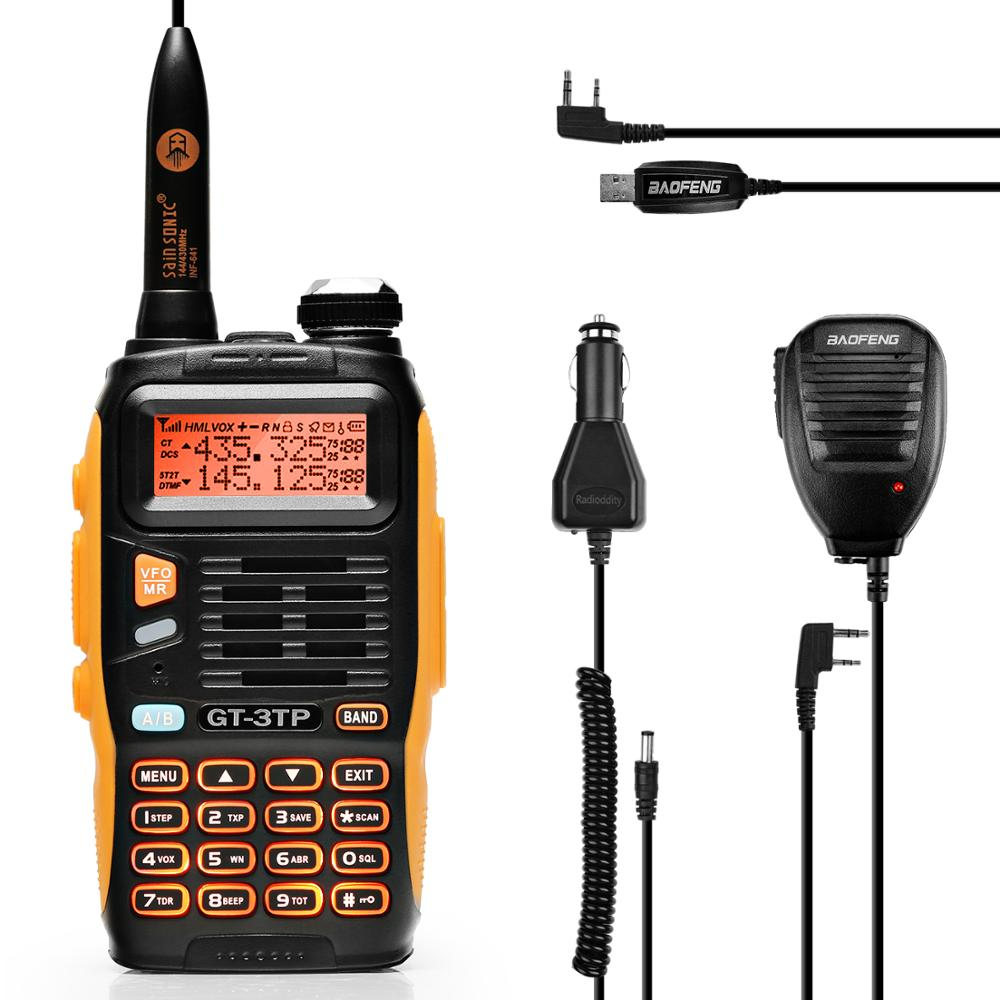 Baofeng GT-3TP Mark III Kit 1/4/8W High Power VHF UHF Two Way Radio Walkie Talkie Transciver with Speaker USB Programming Cable