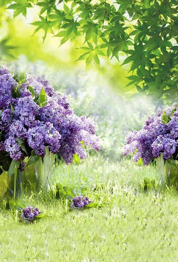 5X7ft Sottile vinile fotografia sfondo paesaggio primavera Viola fiori da sposa ritratto foto sullo sfondo sfondi per foto in studio