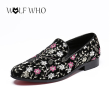 Embroidery Men Loafers Handmade High Quality Genuine Leather Shoes Men Flats Dress Banquet Driving Shoes Male Velvet Shoes