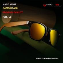 2017 MEESHOW Hand made Polaroid Sunglasses Wooden Bamboo temple  Sun Glasses Men women Flex wooden sunglasses