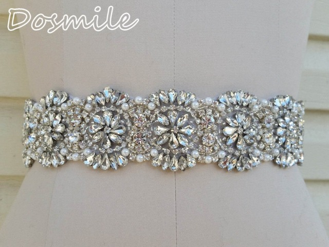 New sparkly wedding belt crystal bridal waistband beaded rhinestones pearls diamond blings handmade satin sash