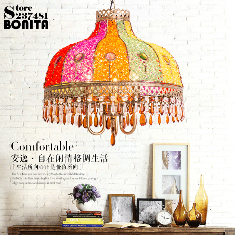 Bohemia hanging lights bedroom Southeast Asia droplight iron glass lamp Crystal pendant lights for restaurants
