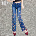Plus size American style floral embroidery design denim pants beads decor flare pants trousers bottom pantalones mujer LT852