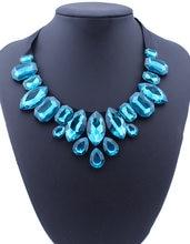 Boêmio 4 cores preto fita grande strass gem cristal gota de água gargantilha colares clavícula corrente para mulher jóias de afirmação
