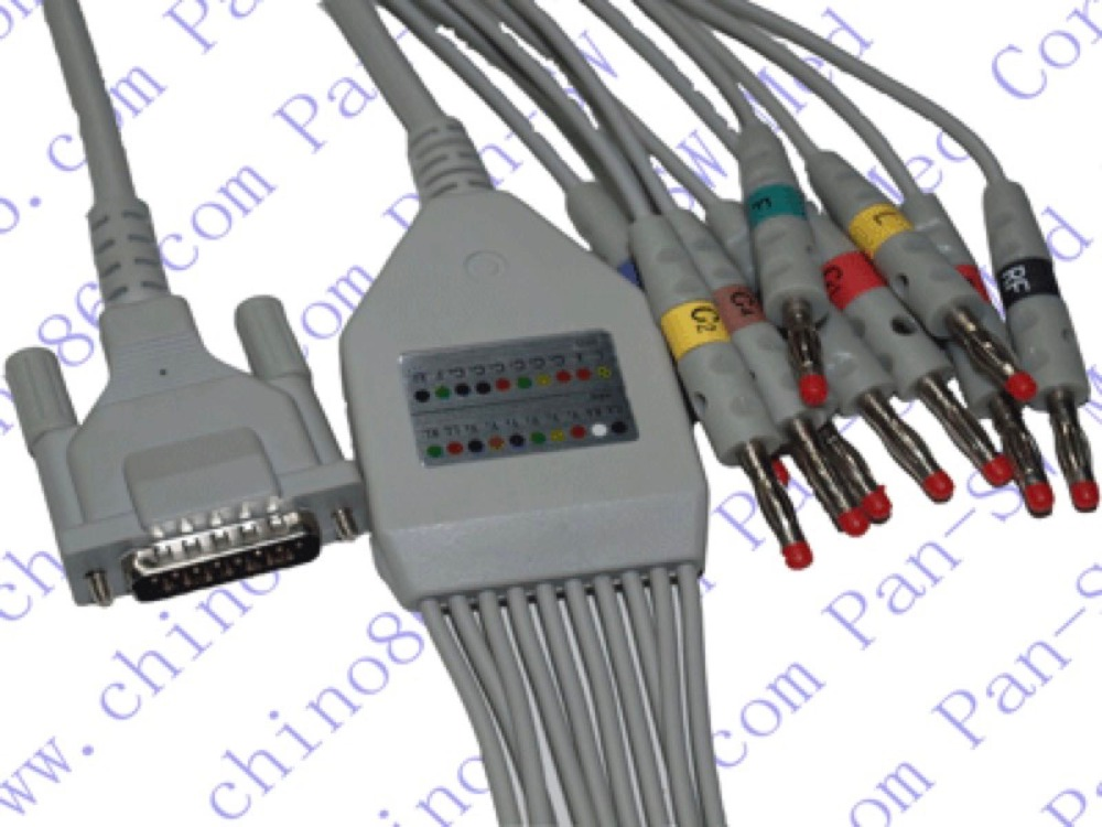 10-lead resting ECG/EKG cable new 10 lead patient ecg ekg cable for all schiller cardiovit machines