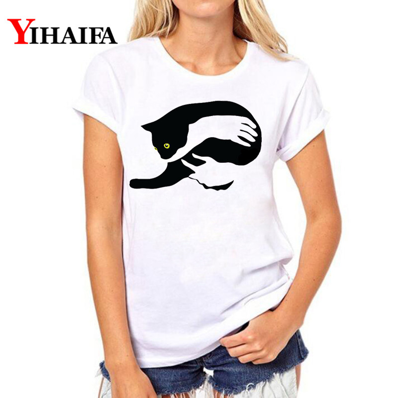 Fashion Women T shirt Cat 3D Print T Shirt Animal Graphic Tee Short Sleeve Lady Summer White T shirts Streetwear Casual Tops in T Shirts from Women 39 s Clothing