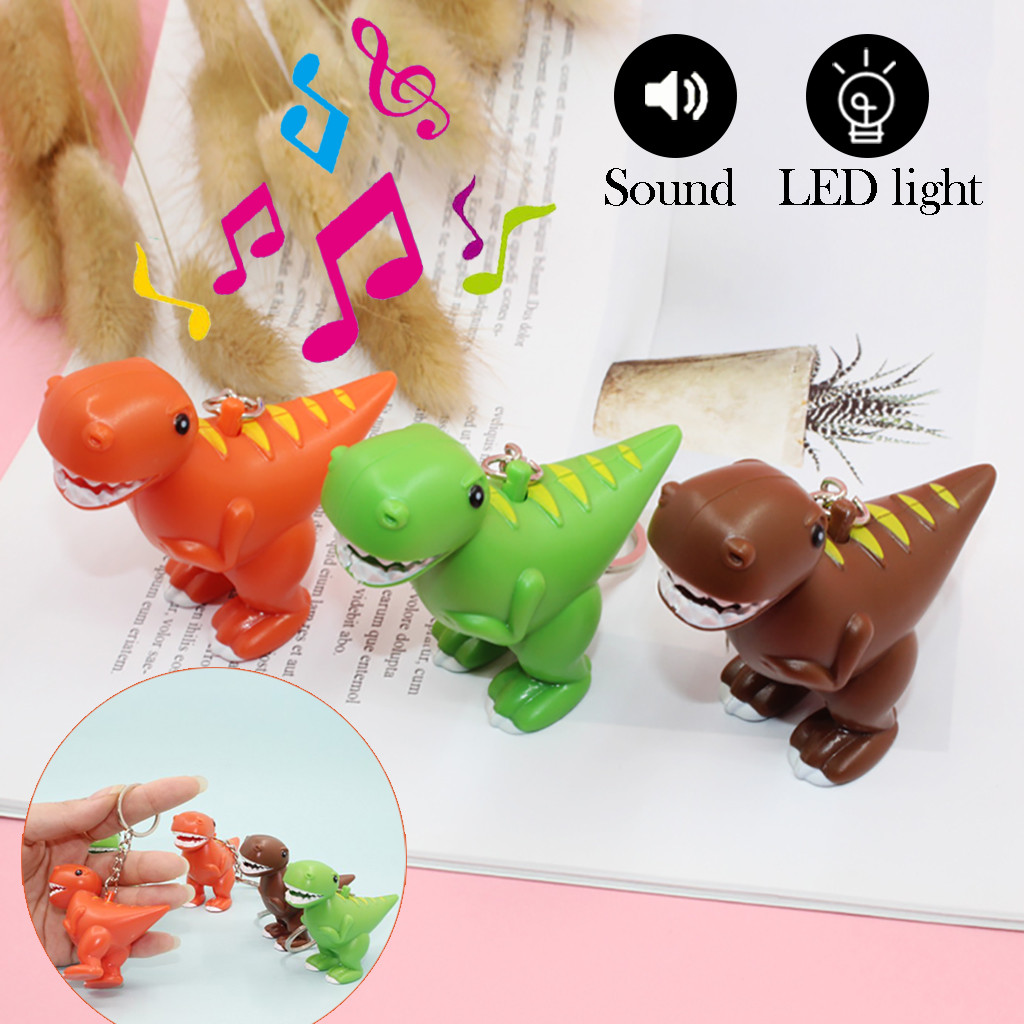 1Pcs Children Toy Fun Animal LED Lamp Dinosaur Doll Flashlight Sound Toys Keyring Key Chain Accessories For Kids Gift