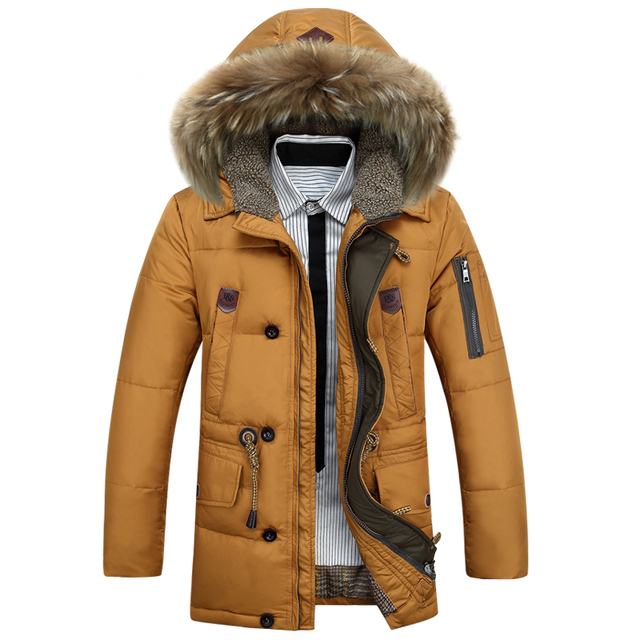 KUYOMENS Men's Down Jackets Mens Brand Thick Warm Fur Collar Hooded Duck Down Coat Male Casual Winter Jacket Men chaqueta hombre