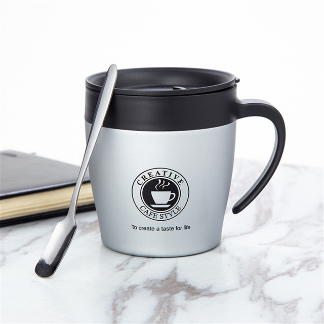 Stainless Steel Vacuum Flask Thermo Handle Coffee Mug 330 ml