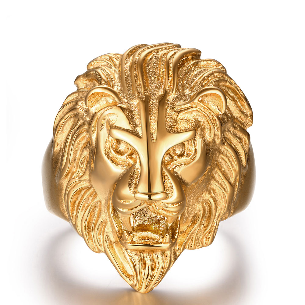 Fiercely Jewelry Men Ring Gold Color Lion Head Gothic Biker Ring