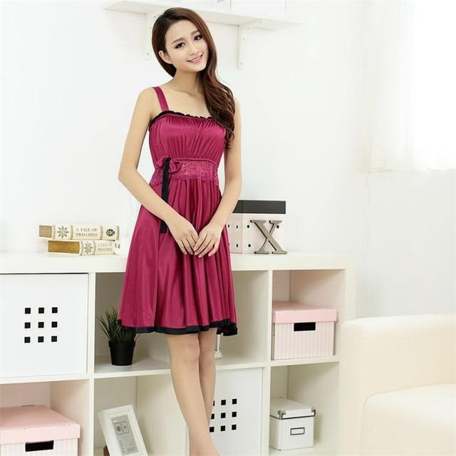 7b09df3e3c5063 Sexy Sleep Dress Nightgown Sleepwear For Women Lace Nightdress Faux Silk  Satin Night Gown Sleep Wear Female Underwear Summer