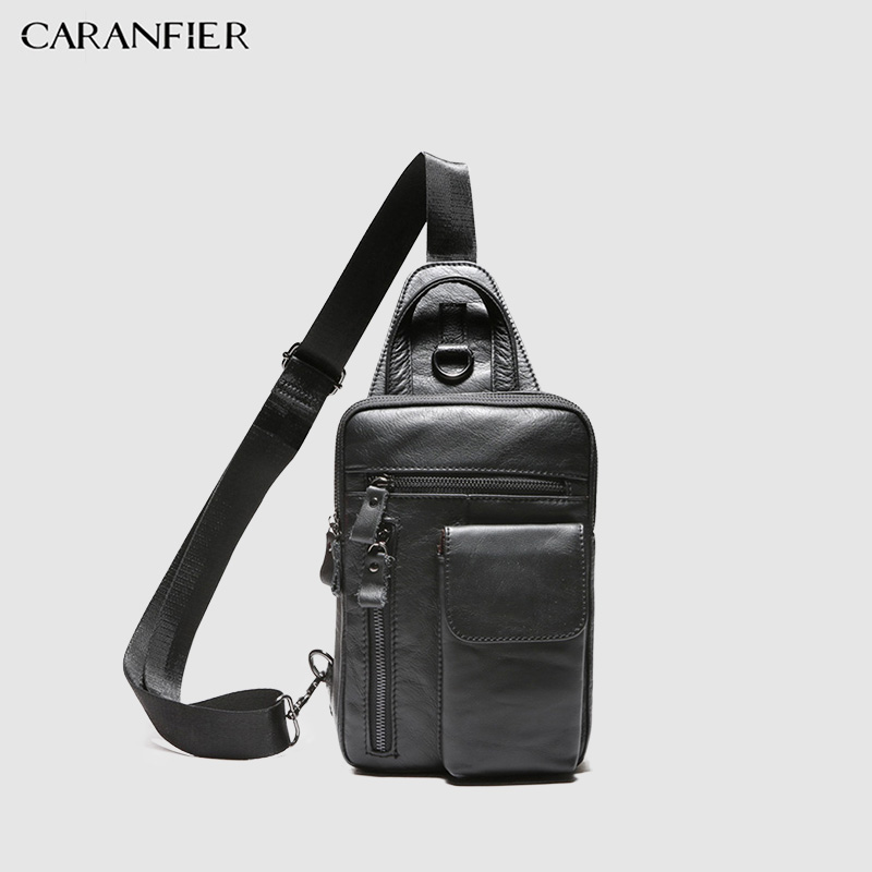 CARANFIER Mens Chest Bags Shoulder Messenger Bag Genuine Cowhide Leather Casual Men Zipper Soft Male Classic