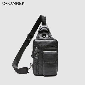 CARANFIER hommes poitrine sacs épaule Messenger sac en cuir de vachette véritable décontracté hommes Zipper doux mâle classique petits sacs de voyage