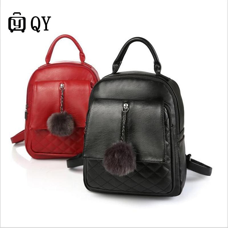 Women Backpack High Quality PU Leather Mochila Escolar School Bags For Teenagers Girls Top-handle Backpacks female Backpack Bag