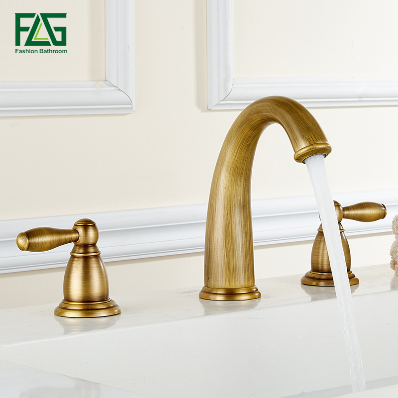 FLG Basin Faucet Golden Plate 3 Hole Bathroom Sink Faucet Deck Mounted Cold Hot Vintage Sink Faucet Mixer Tap flg modern multi color pull out bathroom basin faucet single hole cold and hot water deck mounted tap basin faucet mixer taps