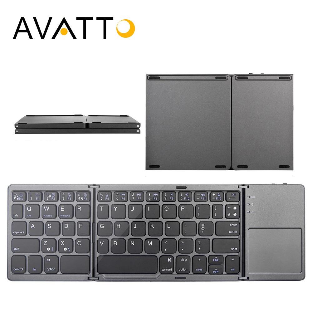 [AVATTO] B033 Draagbare Bluetooth Opvouwbare Mini Toetsenbord, opvouwbare BT Draadloze Touchpad Toetsenbord Voor IOS/Android/Windows ipad Tablet