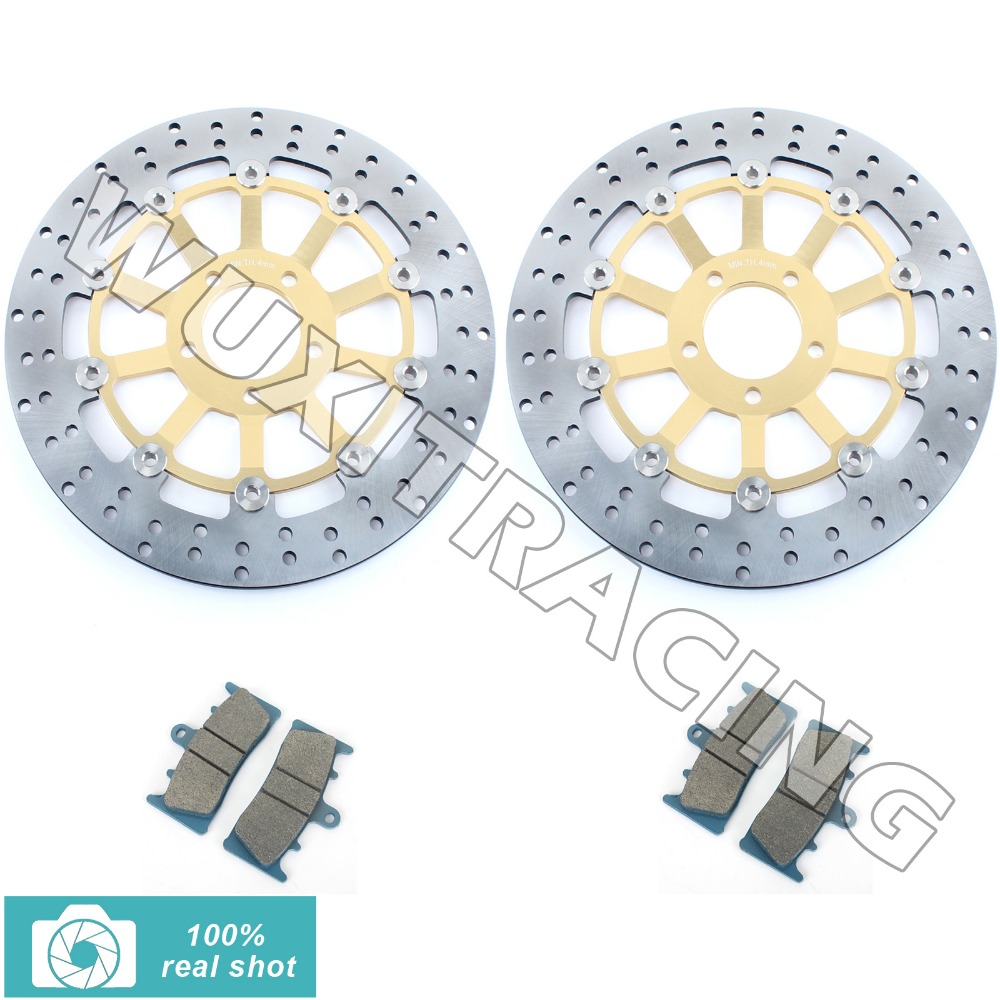 for Kawasaki Ninja ZX6R 98 99 00 01 ZX-6R ZX 636 02 GPZ 900 R 99-02 ZX9R ZX-9R 98 99 Gold Front Brake Discs Rotor + Brake Pads 94 95 96 97 98 99 00 01 02 03 04 05 06 new 300mm front 280mm rear brake discs disks rotor fit for kawasaki gtr 1000 zg1000