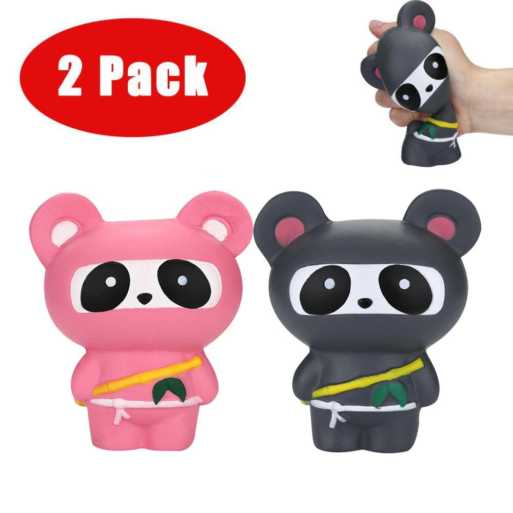 Cartoon Black Cute Adorable Toys Squishies Ninja Panda&Ninja Fox Scented Slow Rising Squeeze Stress Reliever Toy W515