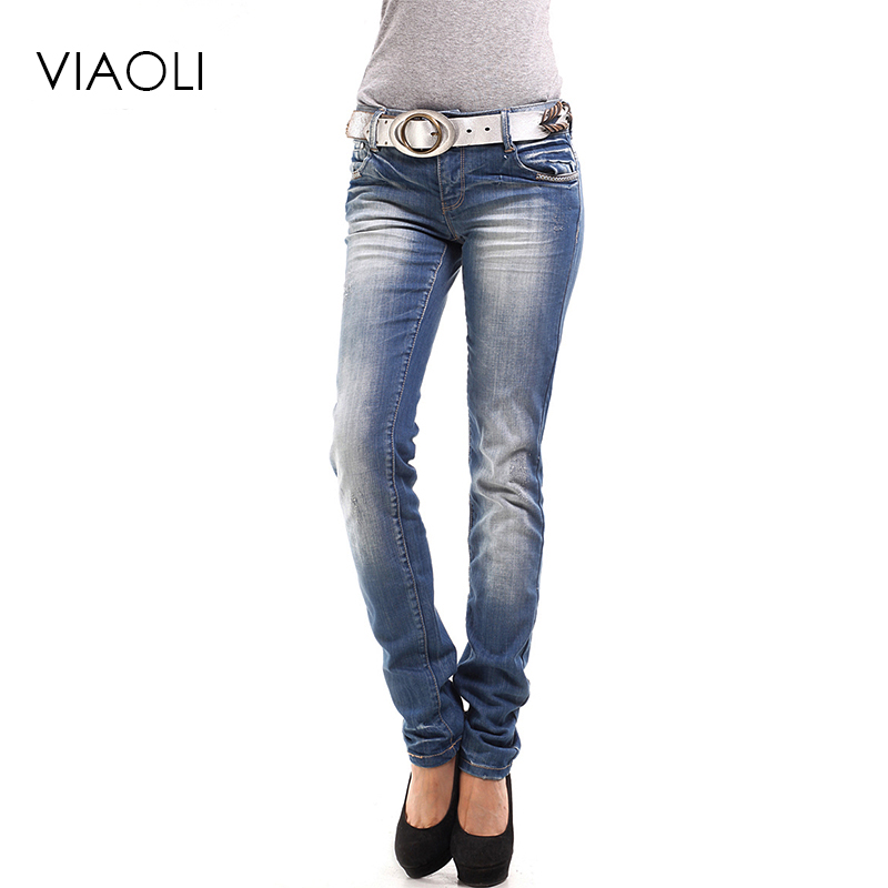 2017 spring and autumn women midfielder Slim jeans trousers denim blue jeans pants ladies feet pants high quality with 99 cotton