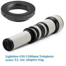 Lightdow 650 1300mm F8.0 F16 슈퍼 망원 수동 줌 렌즈 + 캐논 1100d 700d 650d 550d 500d 70d 60d 7d 용 T2 EOS 어댑터 링