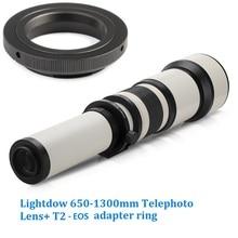 Lightdow 650 1300mm F8.0 F16 Super Tele Handmatige Zoom Lens + T2 EOS Adapter Ring voor Canon 1100D 700D 650D 550D 500D 70D 60D 7D