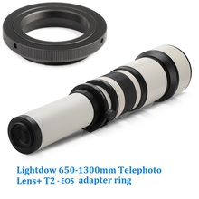 Lightdow 650-1300mm F8.0-F16 Super Telephoto Manual Zoom Lens+T2-EOS Adapter Ring