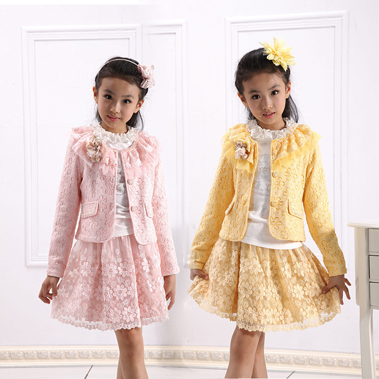 ФОТО Anlencool Free shipping brand children's clothing for girls spring dress set Girls lace skirt three-piece suit girls clothing